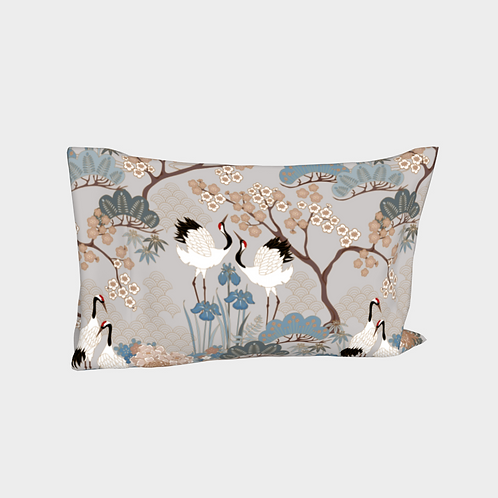 Pillow Sleeve LEFT side - Cotton Sateen - Made in Canada Japanese Garden Grey