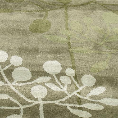Trees graphic modern contemporary green/beige hand-tufted New-Zealand wool custom area rug, Judit Gueth Design, Toronto