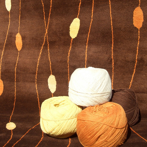 Beads geometric modern contemporary brown/orange hand-tufted New-Zealand wool custom area rug, Judit Gueth Design in Toronto