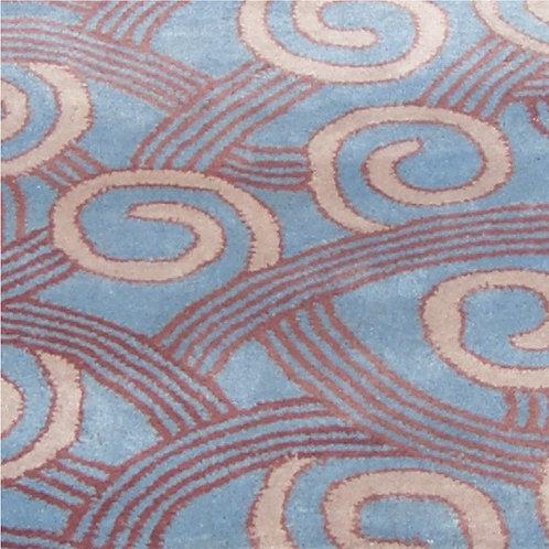 Ocean geometric modern contemporary blue/mauve hand-tufted New-Zealand wool custom area rug, Judit Gueth Design, Toronto