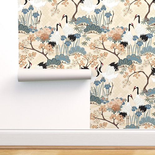 Japanese Garden Cream Peel & Stick or Prepasted Wallpaper
