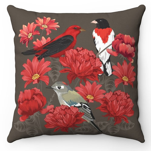 Spun Polyester Square Pillow with Insert - Red Roses and Birds