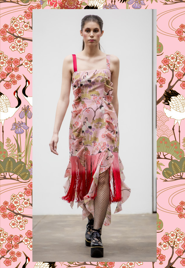A dress made out of the Japanese Garden Pink Fabric in Videmus Omnia's Labyrinth collection for the New York Fashion Week.