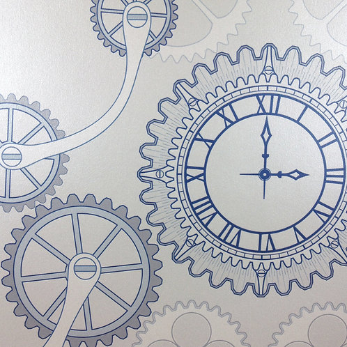Steampunk clock gear, clock pearlized Mica clay coated wallcovering, silver blue/grey wallpaper, Judit Gueth Design, Toronto