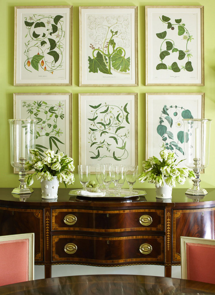 Beautiful botanical collage wall against the spring green paint. Image: Ashley Whittaker Design
