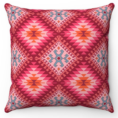 Spun Polyester Square Pillow with Insert - Kilim