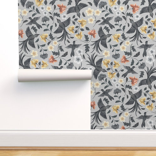 Soar Sea Grey and Gold Peel & Stick or Prepasted Wallpaper
