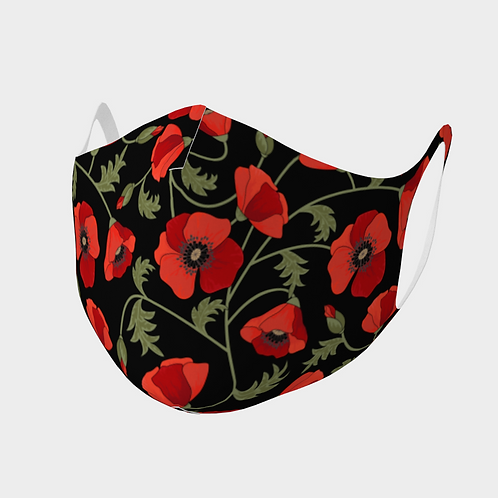 Face Mask Double Knit Precision Cut Poly/Spandex  - Red Poppies