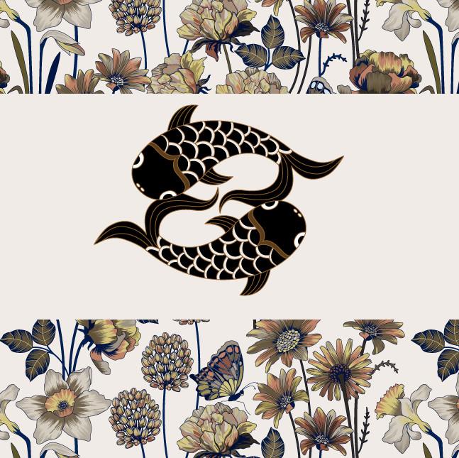 New Judit Gueth Design Logo over a spring pattern