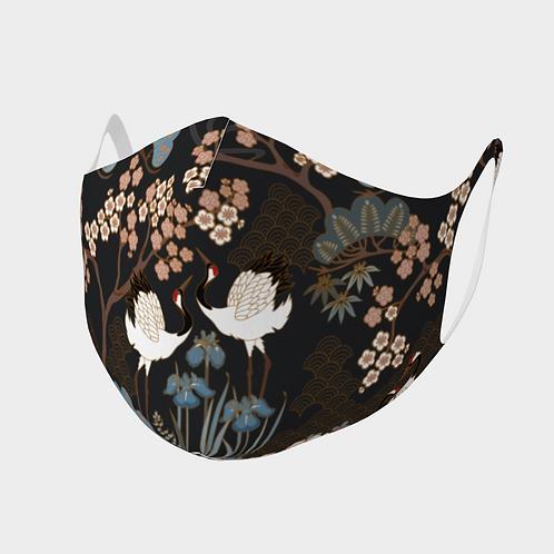 Face Mask Double Knit Precision Cut Poly/Spandex  - Japanese Garden Dark