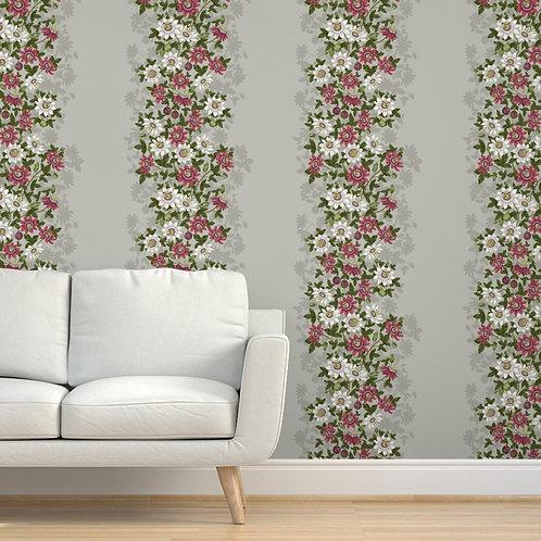 Passionflower Burgundy Peel & Stick or Prepasted Wallpaper