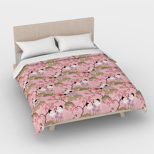 Duvet Cover -Cotton Sateen -Japanese Garden Pink