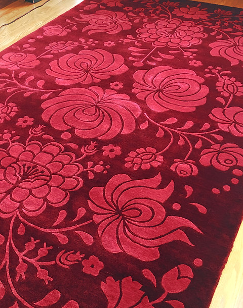 Sample Sale Rhapsody Red 100 Kpsi Hand Knotted 5 X 8 New Zealand Wool Area Rug