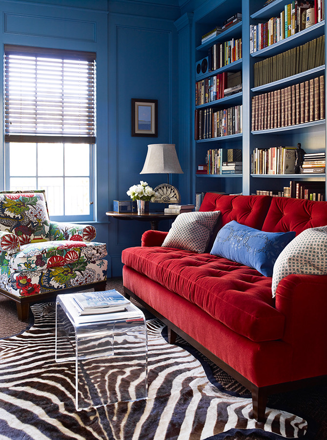 The red and blue paired create a vibrant and playful room! Image: Katie Ridder www.katieridder.com