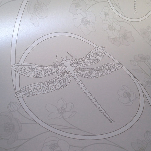 Dragonflies silver gray Asian style pearlized Mica clay coated wallcovering, gray wallpaper, Judit Gueth Design, Toronto