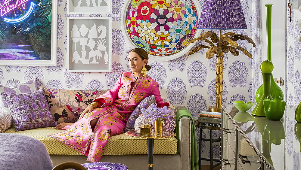 Christina Juarez in her home that she decorated herself. Wallpaper is by Kreme, image via Elle Decor, Photo by Eric Piasecki