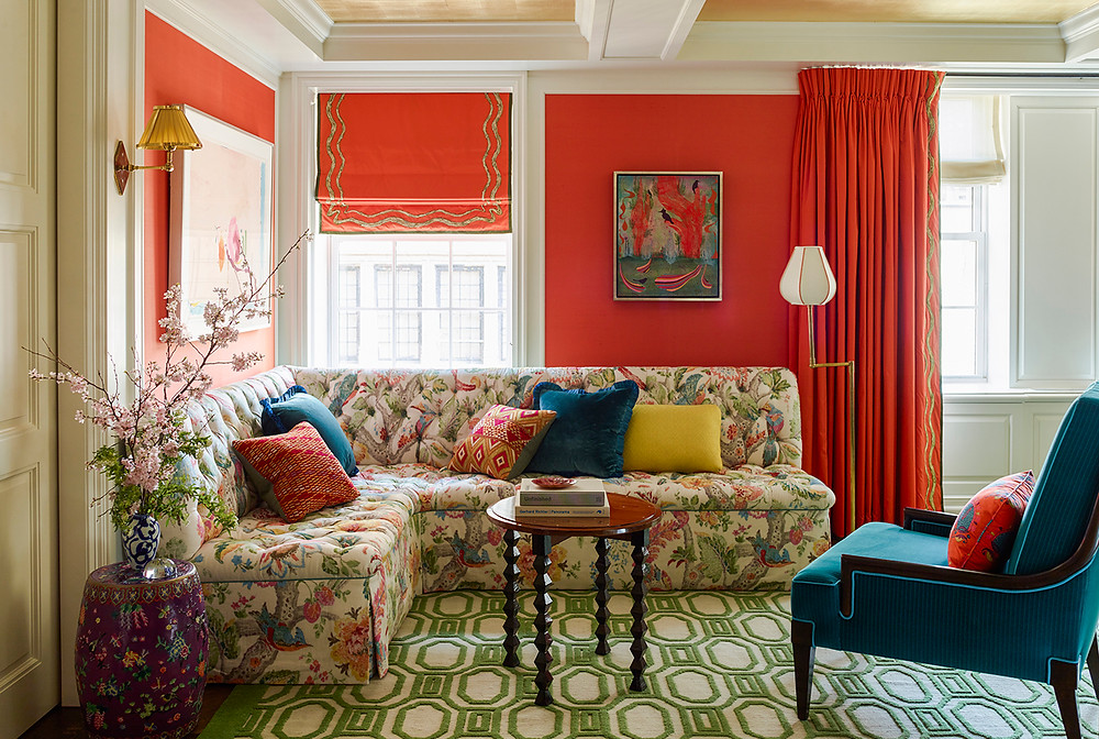 Another example of beautiful coral tones paired with green and turquoise creating a fresh split complementary colour scheme. Image: Katie Ridder www.katieridder.com