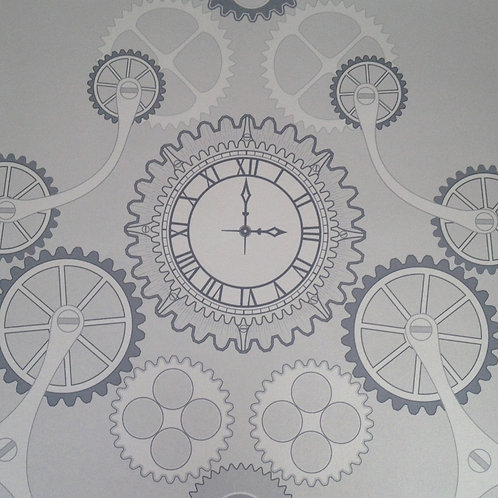 Steampunk clock gear, clock pearlized Mica clay coated wallcovering, silver gray/grey wallpaper, Judit Gueth Design, Toronto