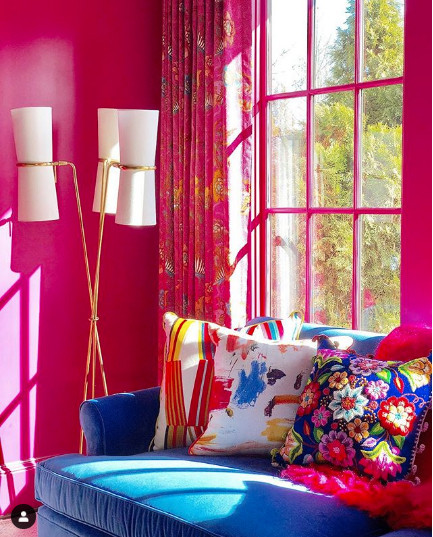 Another vibrant analogous colour scheme! Image from Charlotte Lucas Design