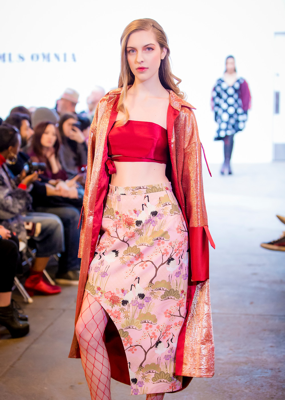 A skirt made out of the Japanese Garden Pink Fabric in Videmus Omnia's Labyrinth collection for the New York Fashion Week.