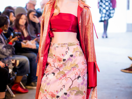 Japanese Garden Pink Fabric at the New York Fashion Week