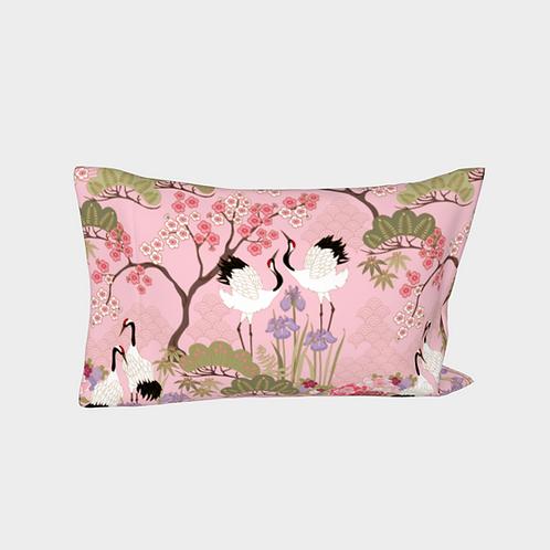Pillow Sleeve LEFT side - Cotton Sateen - Japanese Garden Pink