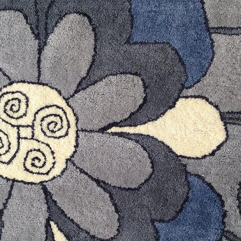 Floral geometric modern contemporary blue/grey hand-tufted New-Zealand wool custom area rug, Judit Gueth Design, Toronto