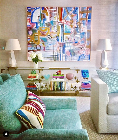 I love the painting and the energy it gives to the pastels! Image from Charlotte Lucas Design