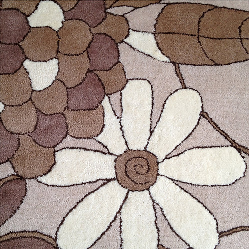 Floral geometric modern contemporary brown/beige hand-tufted New-Zealand wool custom area rug, Judit Gueth Design, Toronto