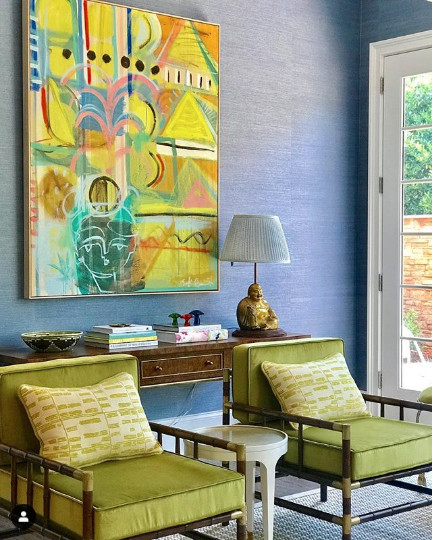 Beautiful analogous colour scheme in this room. Image from Charlotte Lucas Design