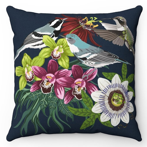 Spun Polyester Square Pillow with Insert - Tropical Flowers and Birds