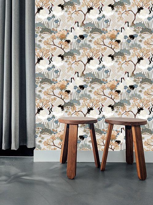 Japanese Garden Gray Wallpaper