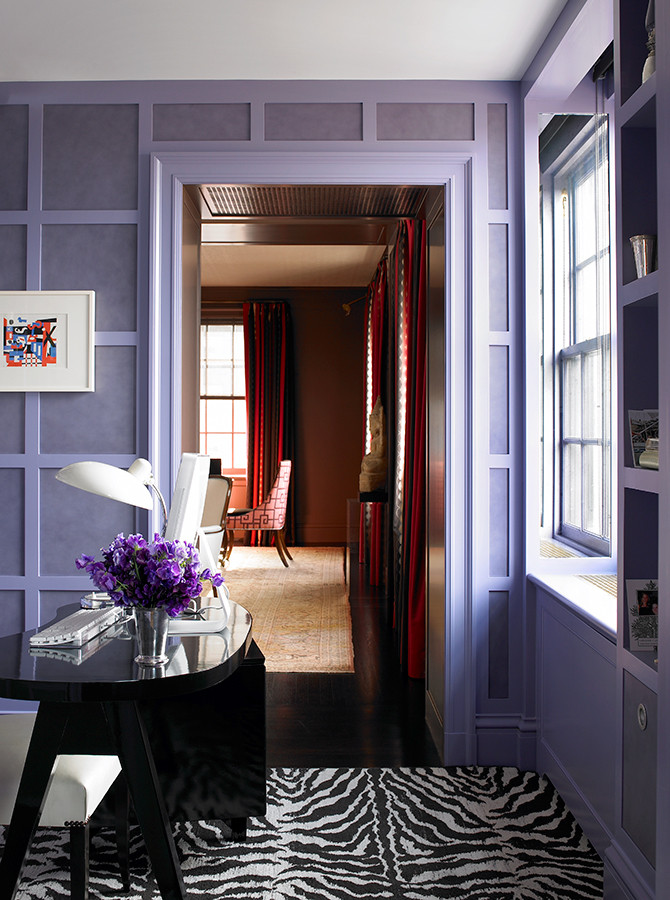 Lavender walls create such a calm room, even with the excitement of the zebra pattern rug! Image: Katie Ridder www.katieridder.com