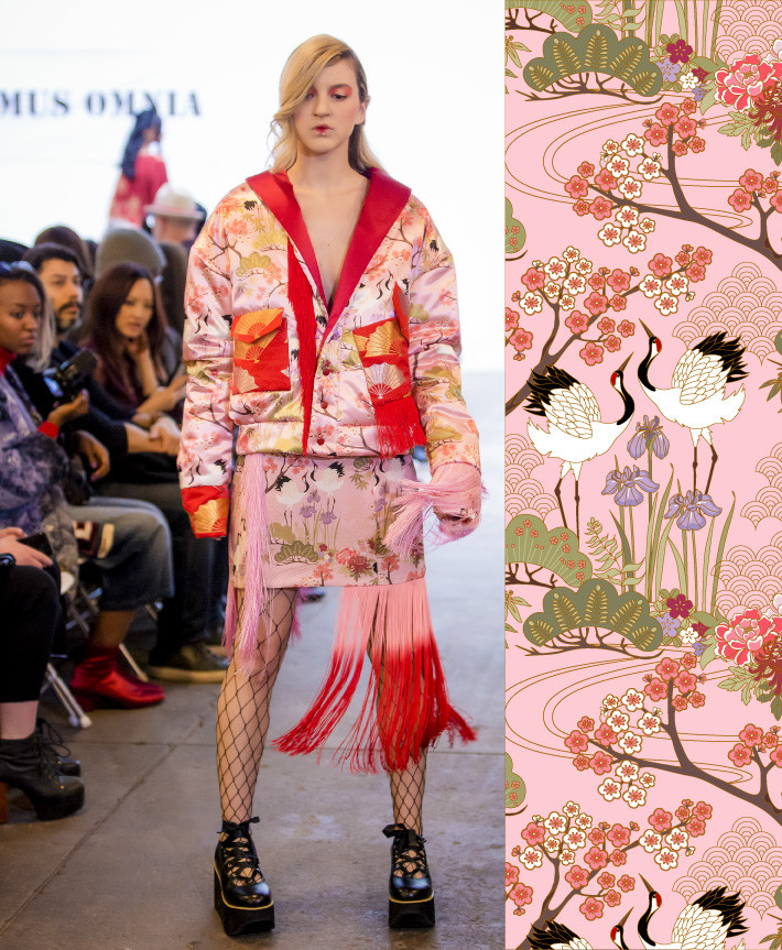 A skirt and jacket made out of the Japanese Garden Pink Fabric in Videmus Omnia's Labyrinth collection for the New York Fashion Week.