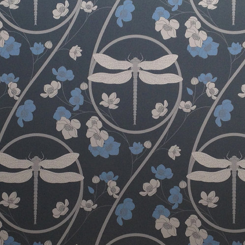 Dragonflies blue gray Asian style matte clay coated wallcovering, blue/gray wallpaper, Judit Gueth Design, Toronto