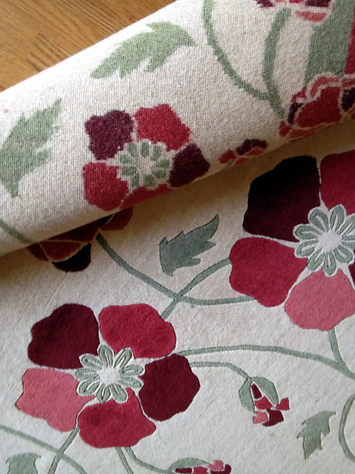Poppies floral pattern red hand-knotted New-Zealand wool custom area rug at Judit Gueth Design in Toronto,  sample sale 5x8