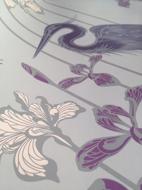 Great Blue Heron plum birds, irises pearlized Mica wallcovering, lilac/blue wallpaper for walls, Judit Gueth Design, Toronto