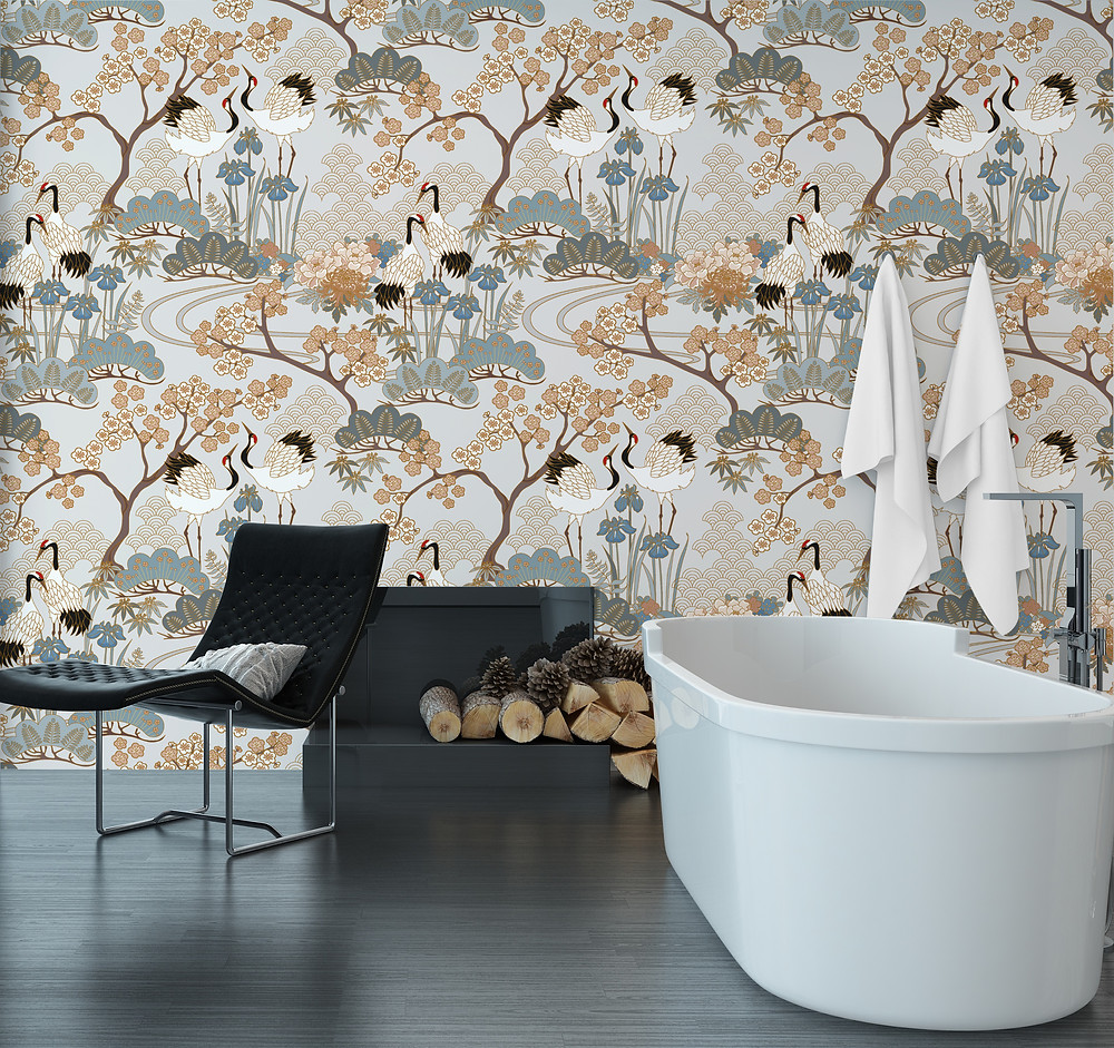 Judit Gueth Japanese Garden wallpaper in gray