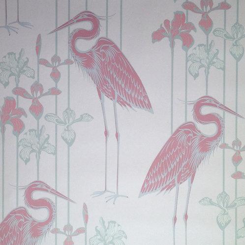 Great Blue Heron rose pink birds, irises wallcovering, pink/green wallpaper for walls, Judit Gueth Design, Toronto