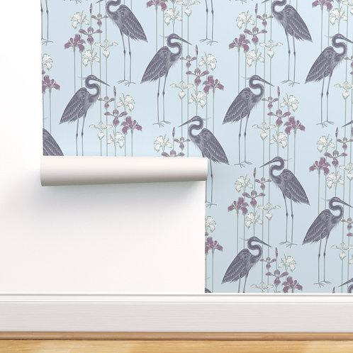 Heron Plum Peel & Stick or Prepasted Wallpaper
