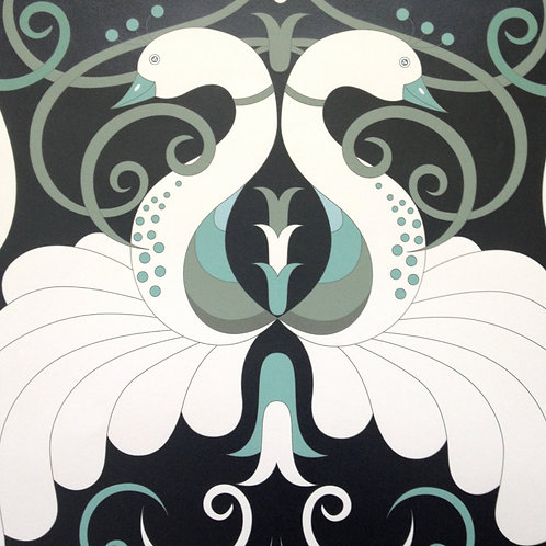 Peacock Jade birds Art Nouveau style wallcovering, black/cream/green wallpaper for walls, Judit Gueth Design, Toronto
