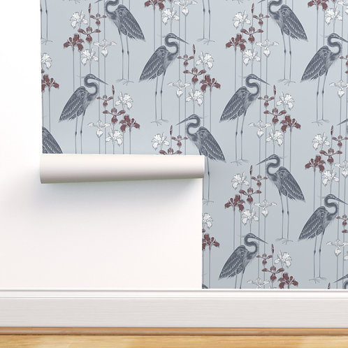 Heron Midnight Marsh Peel & Stick or Prepasted Wallpaper