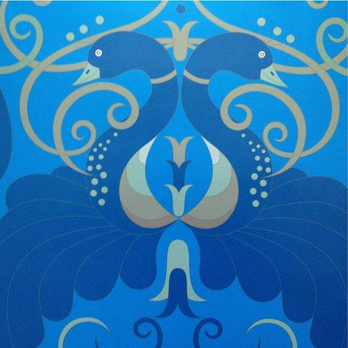 Peacock Blue birds Art Nouveau style wallcovering, peacock blue wallpaper for walls, Judit Gueth Design, Toronto