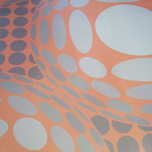 Op art Vasarely pearlized Mica unpasted wallcovering wallpaper for walls at Judit Gueth Design, Toronto