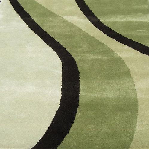 Green geometric modern contemporary green/darkgreen hand-tufted New-Zealand wool custom area rug, Judit Gueth Design, Toronto
