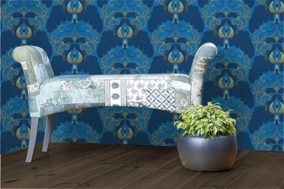 Judit Gueth Peacock wallpaper in Blue