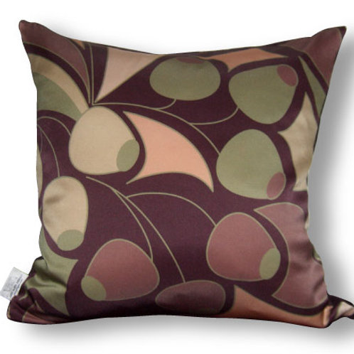 Olives Decorative 16x16 Digitally printed Silk Throw Cushion, buy at Judit Gueth Wallpaper, Rug and Textile Design in Toronto