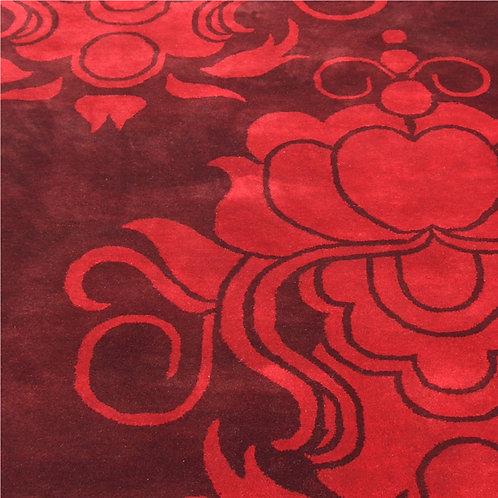 Rococo damask flower graphic modern red/maroon hand-tufted New-Zealand wool custom area rug, Judit Gueth Design, Toronto