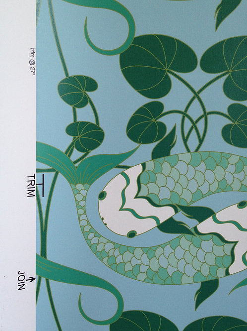 Green Koi fish carp matte finish clay-coated Asian style untrimmed wallpaper in Toronto, buy at Judit Gueth Wallcoverings