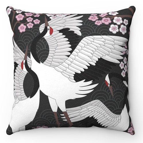 Faux Suede Square Pillow - Dancing Cranes